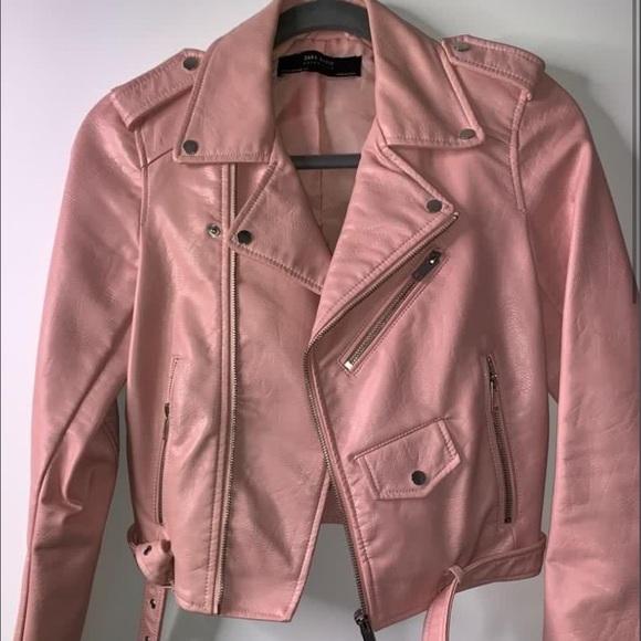 Zara Jackets & Blazers - ZARA PINK FAUX LEATHER JACKET